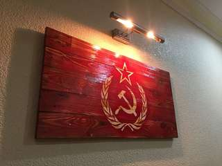 Flag On Pine Wood Handmade Wall Decor Painting Art Signboard