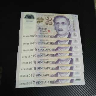 8pc sg $2 running number  notes  8pc x $4 =$32