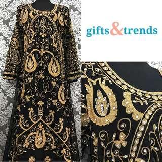 Women's Kaftan Jubah Dress Dubai Full Design Black