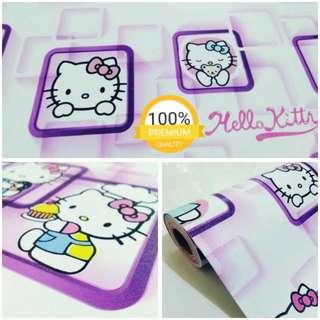 Grosir murah wallpaper sticker dinding kartun anak hello kitty pigura ungu