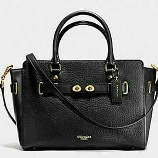 COACH MINI BLACK SWAGGER  IN PEBBLE LEATHER