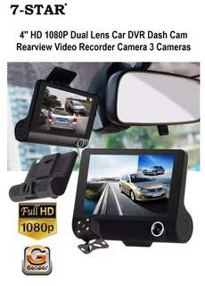 Car Camera - Dash Cam Car Recorder DVR - Reverse / Car Rear Camera system - Dual Lens Car Camera - Front & Back Car Camera (Full-HD 1080P Triple Lens/Wide-Angle)