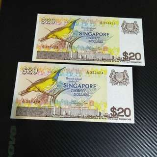 Bird Series running number  of sg $20 notes 2pc x $29