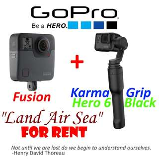 "GoPro Fusion, Karma Grip, Hero 6 ""Land Air Sea"" rent"