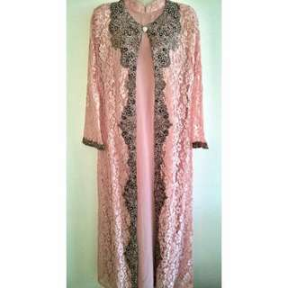 Yulia soft beaded soft lace long dress in Baby pink