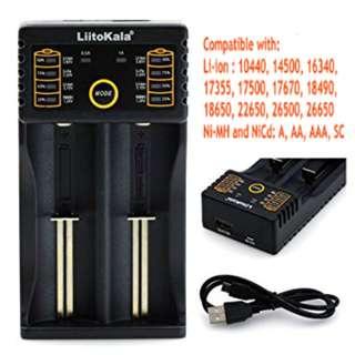 *Original* LiitoKala 2 Dual Double Slot USB Smart Universal Battery Charger AA AAA 18650 26650 16340 RCR123 14500 LiFePO4 1.2V Ni-MH Ni-Cd