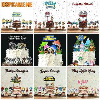 1set$12 Baby Shark Cars MacQueen Paw Patrol Robocar Poli Super Wings My Little Pony Minions Transformers Justice League Cake Topper