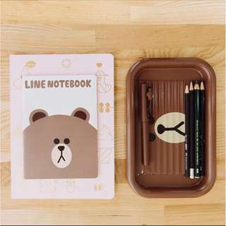 Line friends - pencil pen tray cony, brown, sally