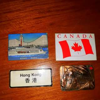 Rush imported refrigerator souvenir magnets set (2 Hong Kong+2 Canada)