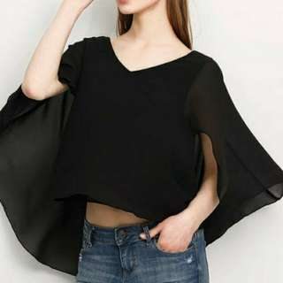 New women's black top 黑色蝙蝠袖上衣