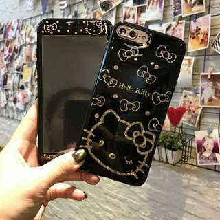⚠ Pre-order! Cute kawaii black and gold Hello Kitty theme design soft Phone Case with front protector For IPhone 6, 6S, 6 plus, 6S Plus, 7, 7 Plus, 8 & 8 Plus and X! (Enquire for availability!)