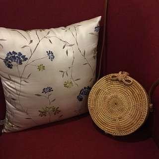 Rattan Round Ribbon Bag in Brown