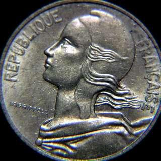 y-1984年法蘭西( FRANCE)瑪莉安自由女神頭像10仙黃銅幣