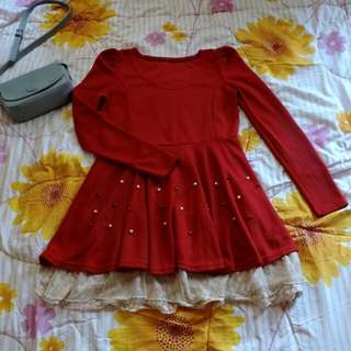 🌼Import Red Brukat Dress