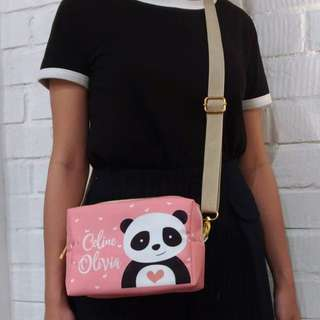 Personalised 3in1 canvas pouch, clutch and sling bag (panda02)