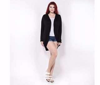 Plus Size UK14 - UK20 Black Cardigan Outerwear Jacket