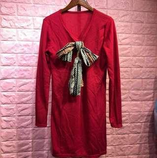💖【全新】紅色假領巾洋裝