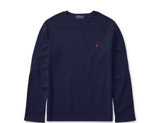 Ralph lauren waffle knit cotton long sleeve tshirt