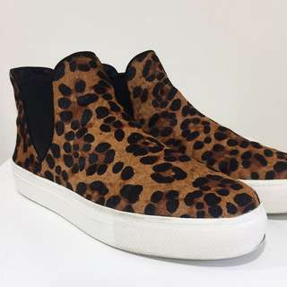Zara fur cheetah leather mid cut sneakers
