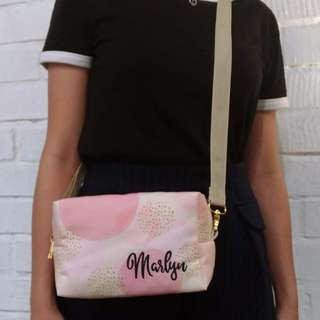 Personalised 3in1 canvas pouch,clutch & sling bag (polkapink)