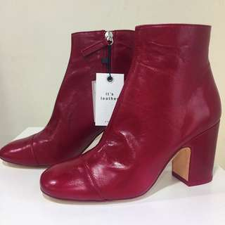Zara Red Leather mid cut boots