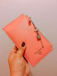 FREE shipping🛍Prada Saffiano business card holder in pink (AUTHENTIC & PRELOVED)