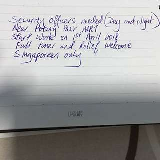 Security officer needed near Potong Pasir