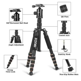 "Compact Travel Tripod in Aluminu - Zomei Z669 Camera Tripod Versatile Equipment as Monopod - Sturdy Ball Head Supports 15lb - Travel-sized Storage of 13.78"" 3.7 lbs for Nikon Canon EOS Sony Digital SLR Camera"