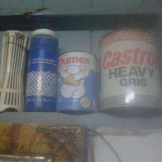 Tin castrol 2kg.dumex,botola air& tabung syiling.