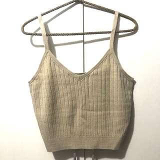 日系品牌 Ehyphen  細肩帶坑條短版背心