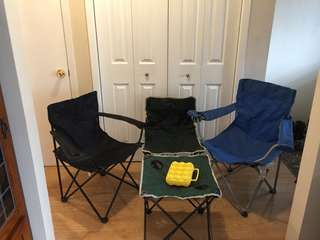 3 Camp Chairs, 1 Table and an Egg Holder