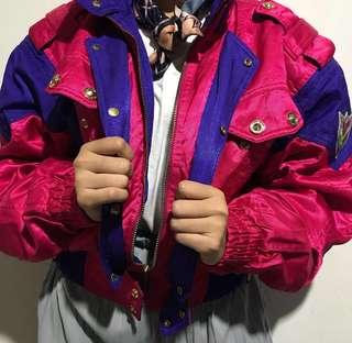 Retro Colorblock Pink Purple Skii Galaxy Jacket Vintage Thrift