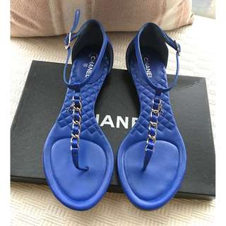 Chanel (Color Electric Blue) leather sandals shoes @Size 37-1/2 #Made in Italy ..