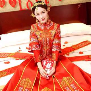 chinese style wedding gown + Shoe