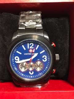 United Army 黑鋼計時手錶 (全新)