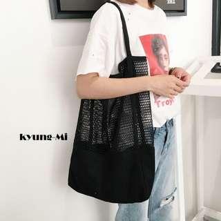 Kyung-Mi Mesh Canvas Tote Bag.