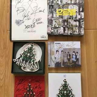 EXO亲笔签名全套专辑 MAMA+XOXO+咆哮+十二月的奇迹 卡+写真