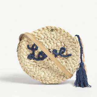 CHLOE ROUND WOVEN BRAND LOGO AND 'LOVE' MATIF STRAW CROSSBODY BAG