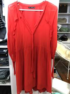 Mango Red Flowy Dress - Preloved, Excellent Condition