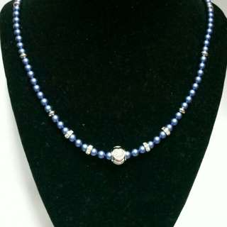 Swarovski Blue Pearls (5mm)  Necklace with charms