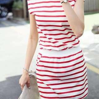 紅白橫間連身裙