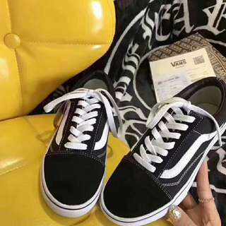 全新Vans/範斯經典款低幫黑白滑板鞋帆布男鞋運動女