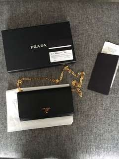 NEW Authentic Prada wallet on a chain, black