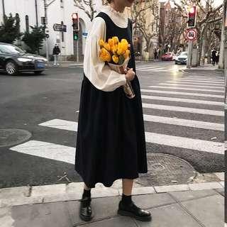 ioz 春 韓著復古寬鬆背心長裙