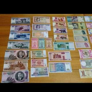全新真鈔 52張 世界各國 不重複 美鈔 韓國 全套 100%實體拍攝 送人 收藏 紀念幣