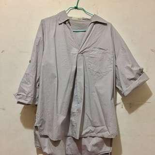 🚚 sweet 挺版氣質高雅灰色上衣 前短後長 襯衫 T恤