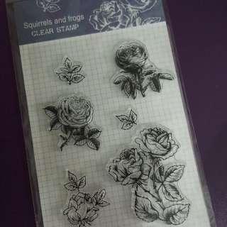 透明硅膠印章 玫瑰圖案