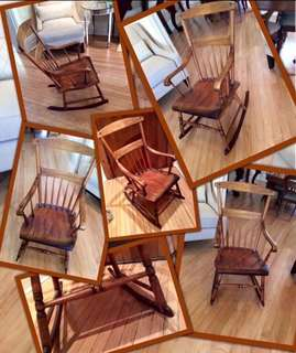 ✨✨PERFECT 🎁gift for🍼👶🏼Parents -To -Be✨ ✨Antique Muskoka maple rocking chair  from a multi-generational family's summer cottage in Lake Rosseau,Muskoka,Ontario.(Circa mid-Late 1800's )
