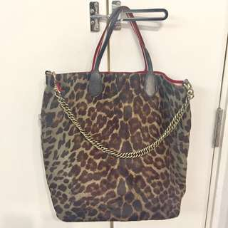 Bally leopard pattern tote bag