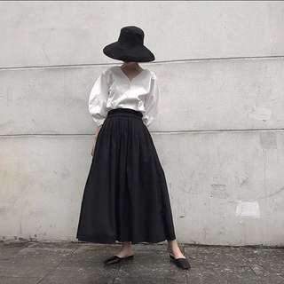 ioz 原創小眾 復古黑長裙